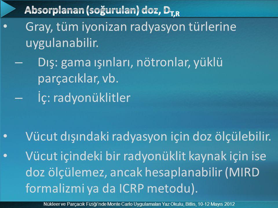 Nükleer ve Parçacık Fiziği'nde Monte Carlo Uygulamaları Yaz Okulu, Bitlis, 10-12 Mayıs 2012 Gray, tüm iyonizan radyasyon türlerine uygulanabilir. – Dı