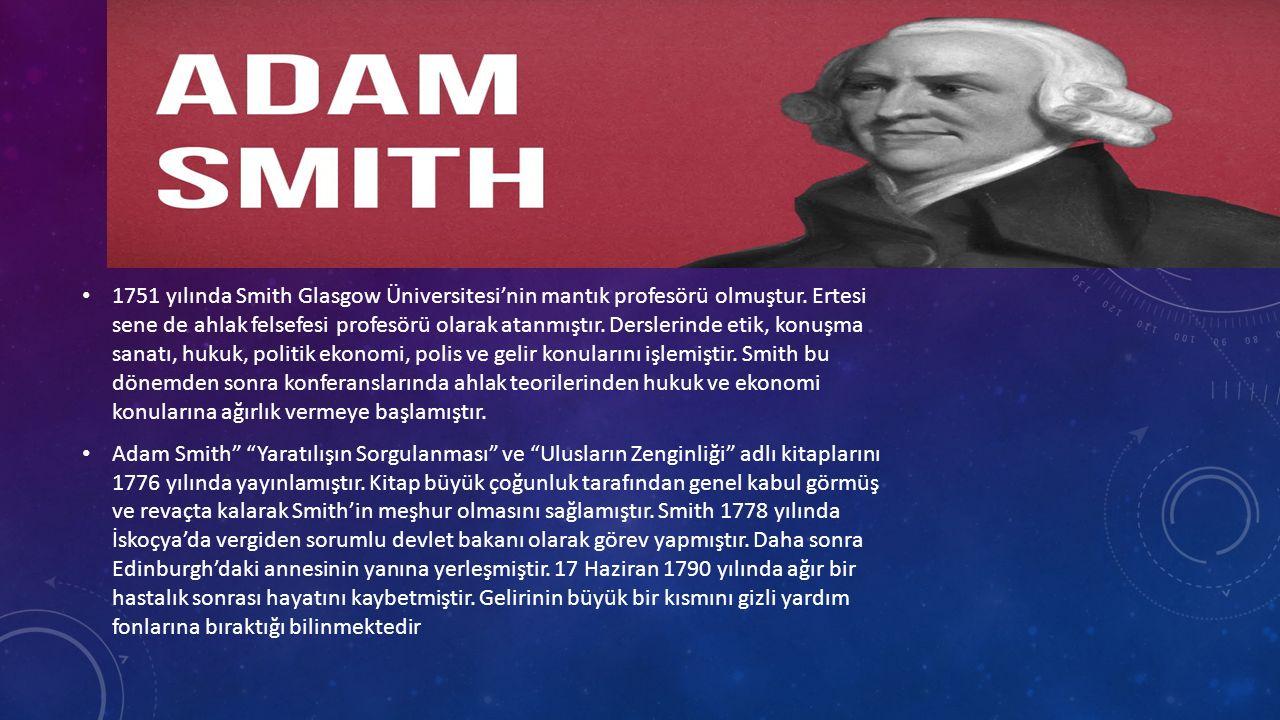 1751 yılında Smith Glasgow Üniversitesi'nin mantık profesörü olmuştur.