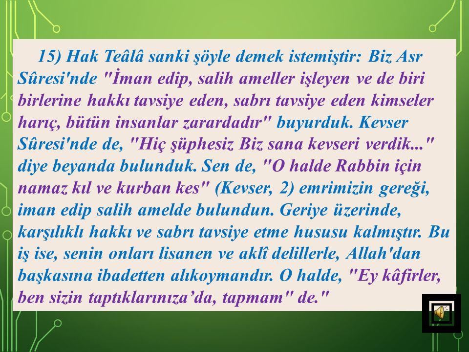 """14) Akrabanın niyet etmesi ve vahşice davranması, başkalarının eziyetinden daha ağır ve çetin gelir. Bunun için """"Ey Resulüm, sen de, onların kabilesin"""