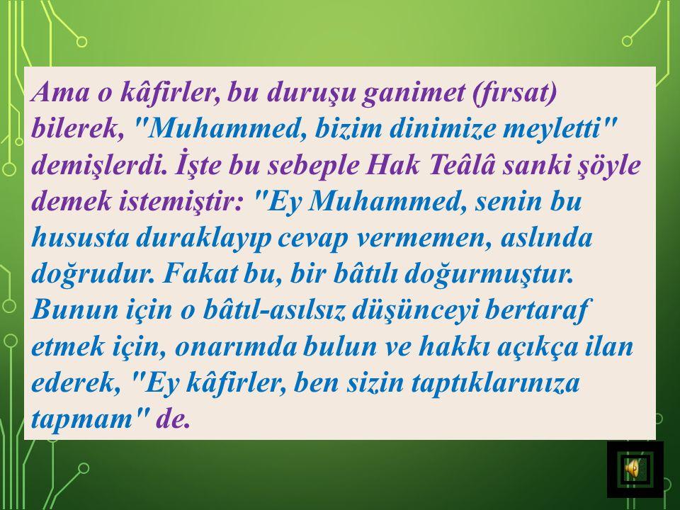 17) Müşrikler, Hz. Peygamber (s.a.v)'den bir yıl kendi ilahlarınıza, kendilerinin de bir yıl onun ilahına tapmayı teklif edince, Hz. Peygamber (s.a.v)