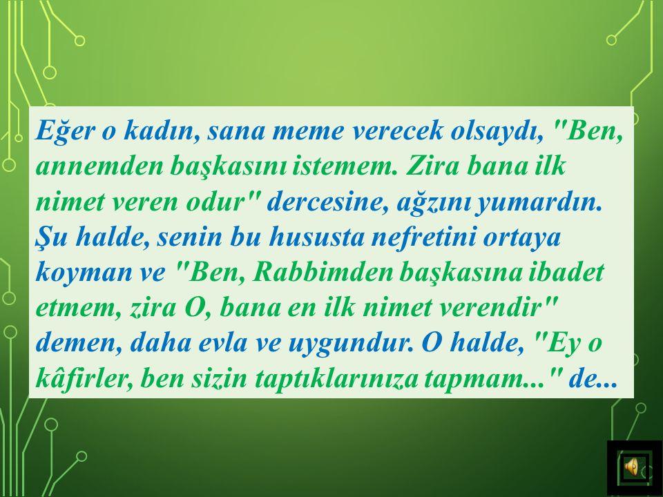 34) Benim sana olan nimetimin, annenizin nimetlerinden aşağı olduğunu zanneder misin? Seni, terbiye etmedim mi.