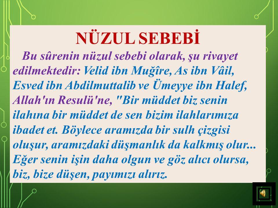 SÛRENİN KONUSU Sûrede Hz. Peygamber'in inkârcılarla şirk ve sapkınlıkta birleşemeyeceği ifade edilmekte ve İslâm dininin şirkten uzak tutulması hedefl