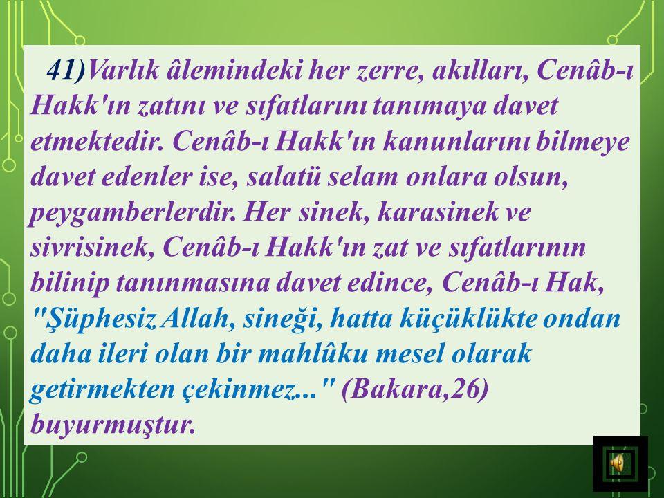 Dolayısıyla, Cenâb-ı Hak sanki şöyle demek istemiştir: