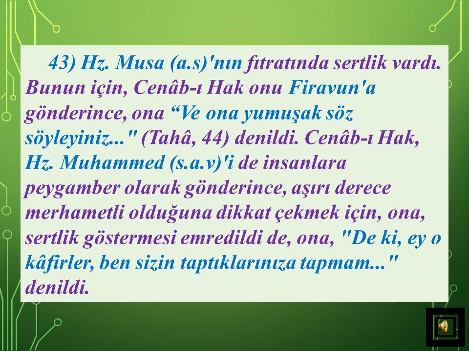 42) Cenâb-ı Hak adeta, şöyle demek ister: