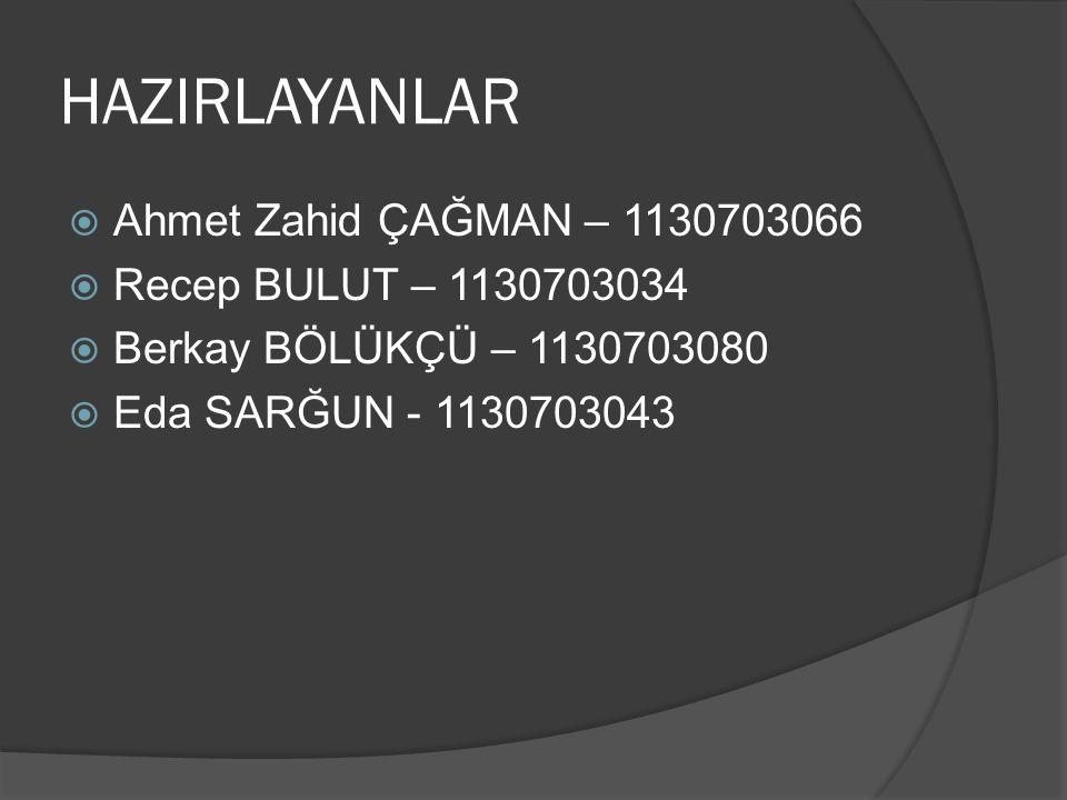 HAZIRLAYANLAR  Ahmet Zahid ÇAĞMAN – 1130703066  Recep BULUT – 1130703034  Berkay BÖLÜKÇÜ – 1130703080  Eda SARĞUN - 1130703043