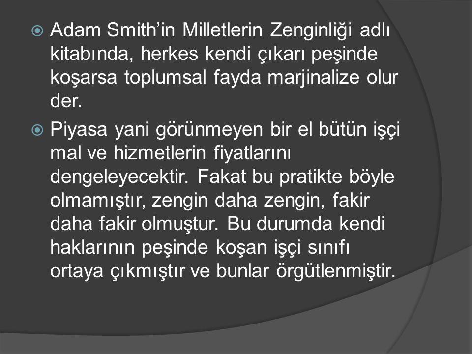  Adam Smith'in Milletlerin Zenginliği adlı kitabında, herkes kendi çıkarı peşinde koşarsa toplumsal fayda marjinalize olur der.