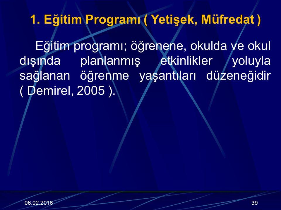 1. Eğitim Programı ( Yetişek, Müfredat ) Eğitim programı; öğrenene, okulda ve okul dışında planlanmış etkinlikler yoluyla sağlanan öğrenme yaşantıları