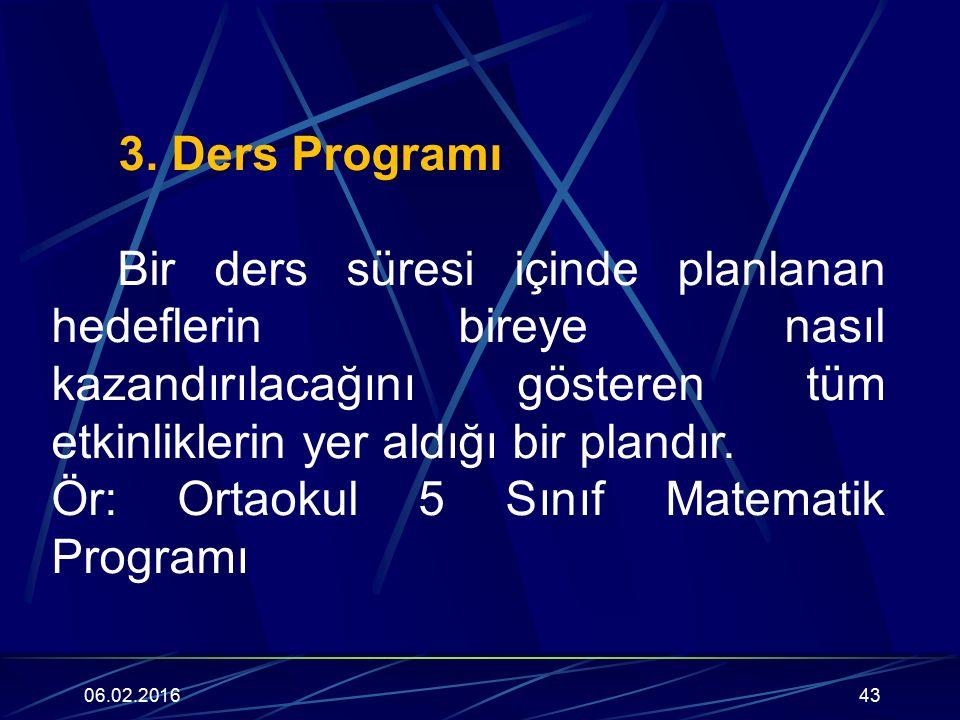 3. Ders Programı Bir ders süresi içinde planlanan hedeflerin bireye nasıl kazandırılacağını gösteren tüm etkinliklerin yer aldığı bir plandır. Ör: Ort