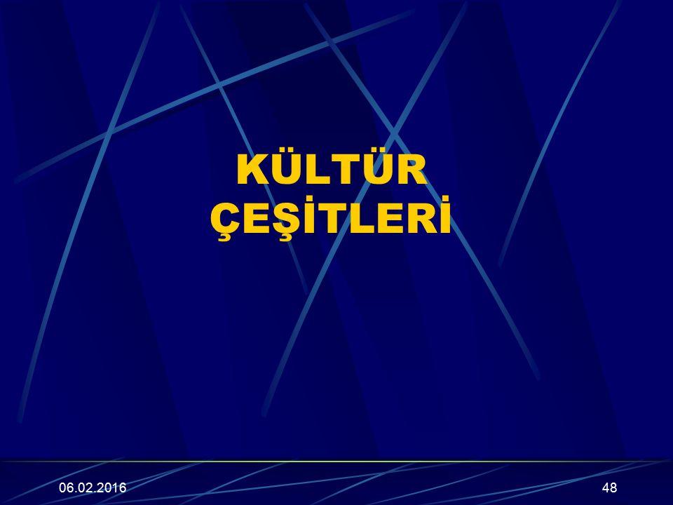 KÜLTÜR ÇEŞİTLERİ 06.02.201648