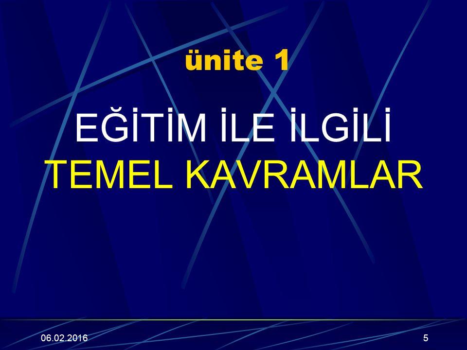 ünite 1 EĞİTİM İLE İLGİLİ TEMEL KAVRAMLAR 06.02.20165