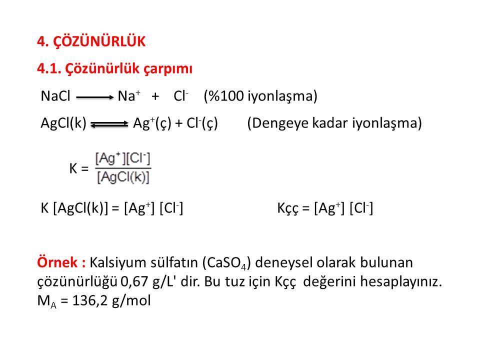 4. ÇÖZÜNÜRLÜK 4.1. Çözünürlük çarpımı NaCl Na + + Cl - (%100 iyonlaşma) AgCl(k) Ag + (ç) + Cl - (ç) (Dengeye kadar iyonlaşma) K = K [AgCl(k)] = [Ag +