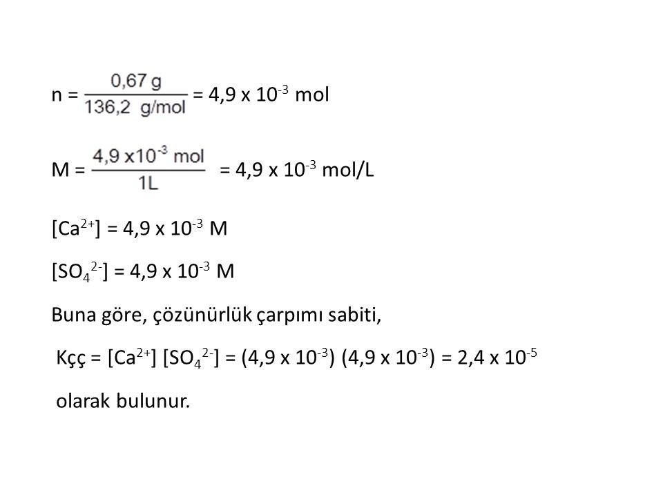 n = = 4,9 x 10 -3 mol M = = 4,9 x 10 -3 mol/L [Ca 2+ ] = 4,9 x 10 -3 M [SO 4 2- ] = 4,9 x 10 -3 M Buna göre, çözünürlük çarpımı sabiti, Kçç = [Ca 2+ ]