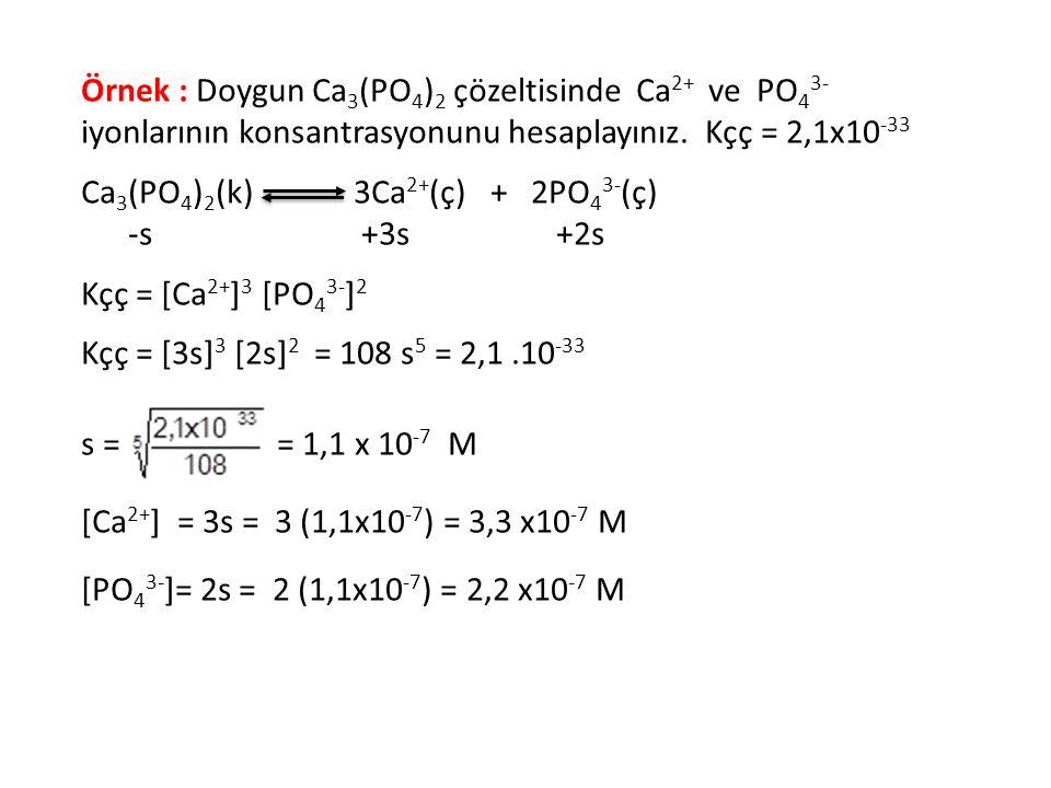 Örnek : Doygun Ca 3 (PO 4 ) 2 çözeltisinde Ca 2+ ve PO 4 3- iyonlarının konsantrasyonunu hesaplayınız. Kçç = 2,1x10 -33 Ca 3 (PO 4 ) 2 (k) 3Ca 2+ (ç)