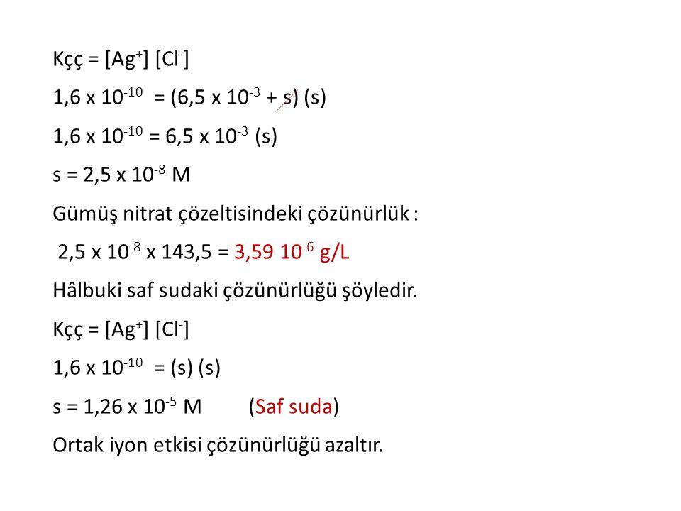 Kçç = [Ag + ] [Cl - ] 1,6 x 10 -10 = (6,5 x 10 -3 + s) (s) 1,6 x 10 -10 = 6,5 x 10 -3 (s) s = 2,5 x 10 -8 M Gümüş nitrat çözeltisindeki çözünürlük : 2