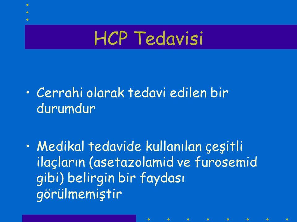 HCP Tedavisi Cerrahi olarak tedavi edilen bir durumdur Medikal tedavide kullanılan çeşitli ilaçların (asetazolamid ve furosemid gibi) belirgin bir fay
