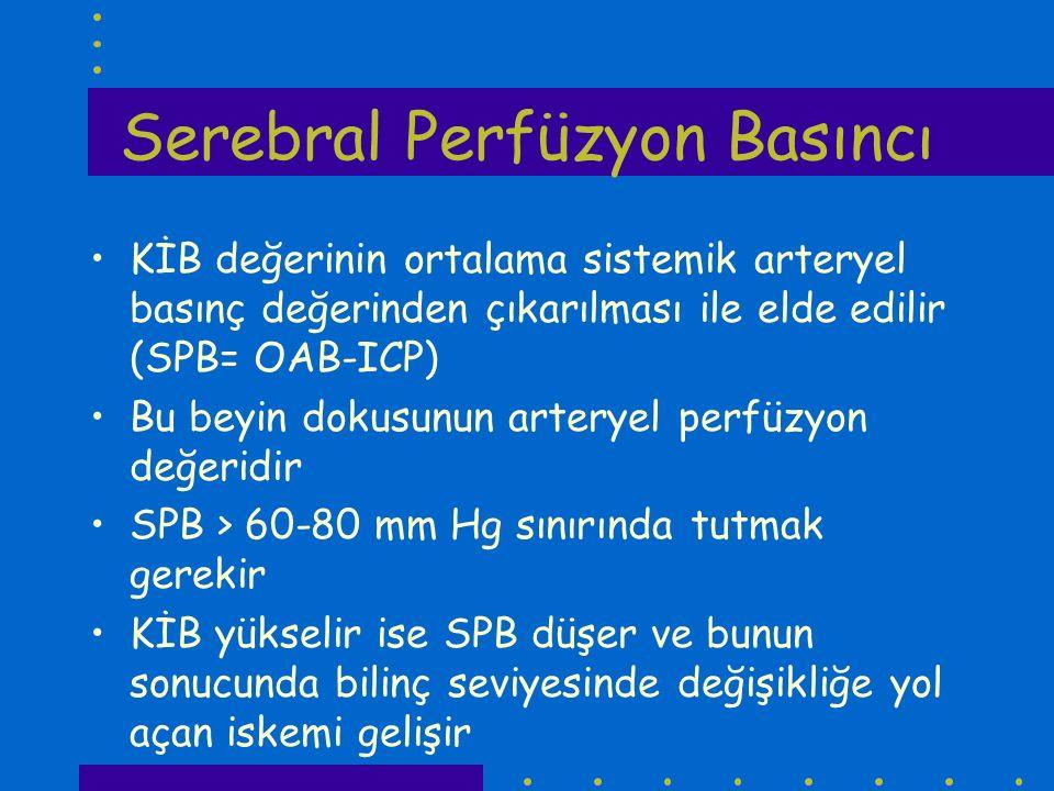 Serebral Perfüzyon Basıncı KİB değerinin ortalama sistemik arteryel basınç değerinden çıkarılması ile elde edilir (SPB= OAB-ICP) Bu beyin dokusunun ar