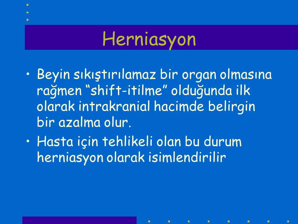 Herniasyon 1.Unkal herniasyon 2. Santral (transtentoryal herniasyon) 3.