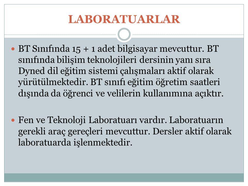 LABORATUARLAR BT Sınıfında 15 + 1 adet bilgisayar mevcuttur. BT sınıfında bilişim teknolojileri dersinin yanı sıra Dyned dil eğitim sistemi çalışmalar