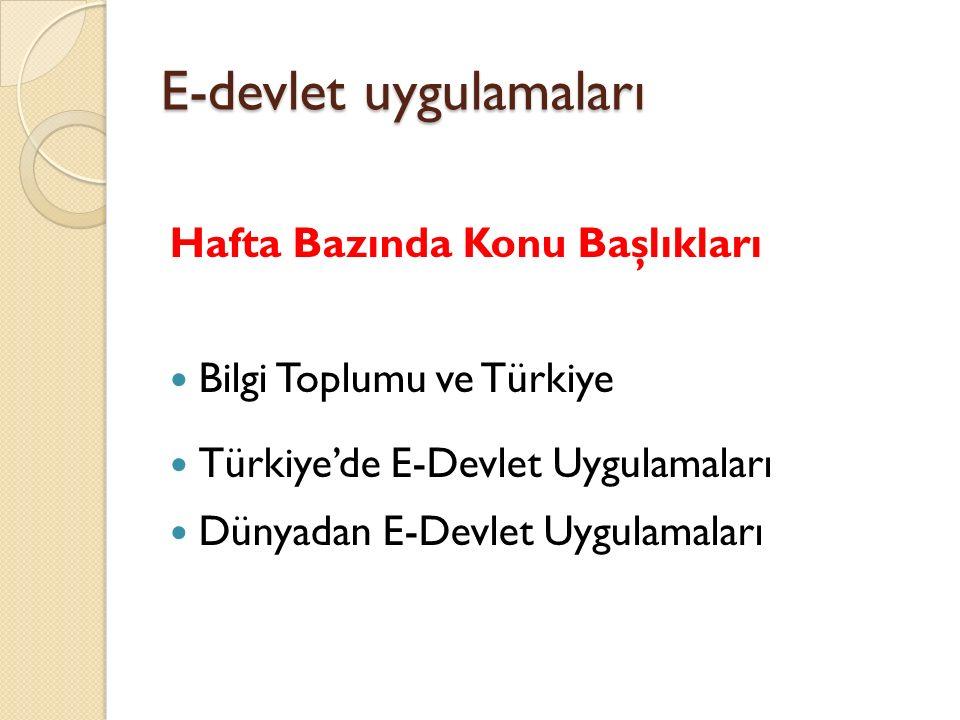 E-devlet uygulamaları Hafta Bazında Konu Başlıkları Bilgi Toplumu ve Türkiye Türkiye'de E-Devlet Uygulamaları Dünyadan E-Devlet Uygulamaları