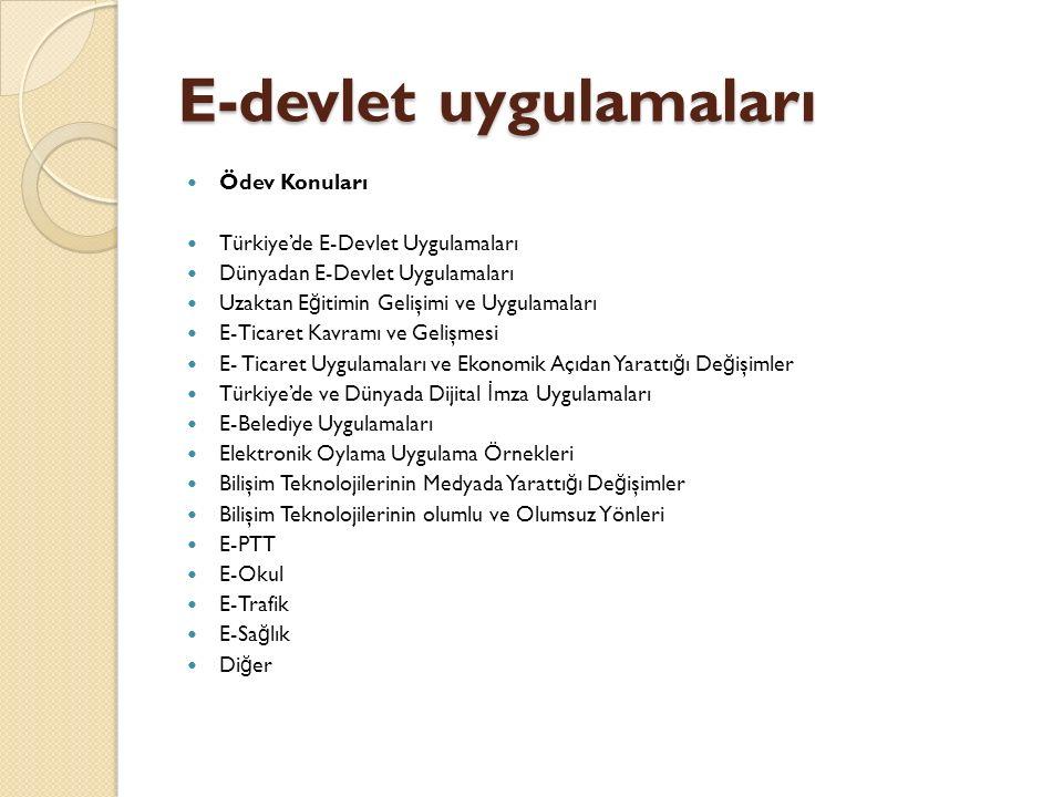 E-devlet uygulamaları Ödev Konuları Türkiye'de E-Devlet Uygulamaları Dünyadan E-Devlet Uygulamaları Uzaktan E ğ itimin Gelişimi ve Uygulamaları E-Tica