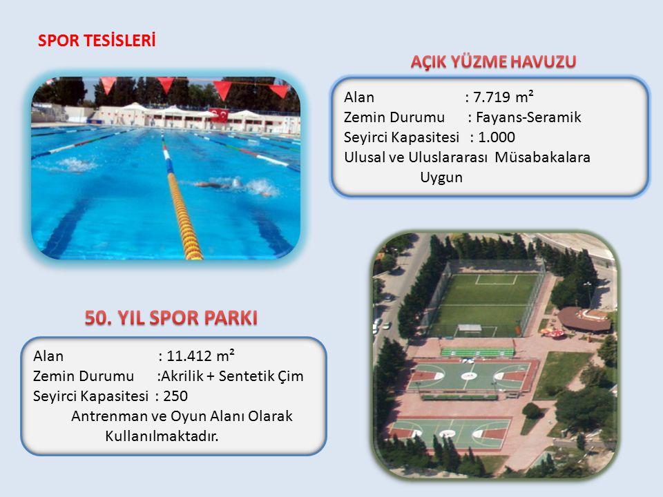 Alan : 7.719 m² Zemin Durumu : Fayans-Seramik Seyirci Kapasitesi : 1.000 Ulusal ve Uluslararası Müsabakalara Uygun Alan : 11.412 m² Zemin Durumu :Akrilik + Sentetik Çim Seyirci Kapasitesi : 250 Antrenman ve Oyun Alanı Olarak Kullanılmaktadır.