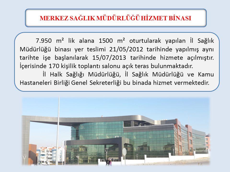 MERKEZ SAĞLIK MÜDÜRLÜĞÜ HİZMET BİNASI 7.950 m² lik alana 1500 m² oturtularak yapılan İl Sağlık Müdürlüğü binası yer teslimi 21/05/2012 tarihinde yapılmış aynı tarihte işe başlanılarak 15/07/2013 tarihinde hizmete açılmıştır.
