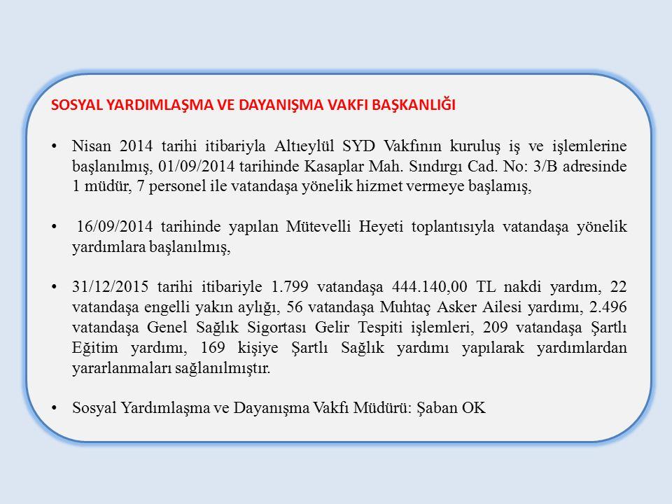 SOSYAL YARDIMLAŞMA VE DAYANIŞMA VAKFI BAŞKANLIĞI Nisan 2014 tarihi itibariyla Altıeylül SYD Vakfının kuruluş iş ve işlemlerine başlanılmış, 01/09/2014 tarihinde Kasaplar Mah.