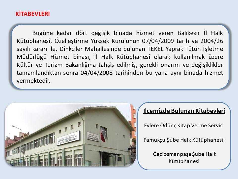 Bugüne kadar dört değişik binada hizmet veren Balıkesir İl Halk Kütüphanesi, Özelleştirme Yüksek Kurulunun 07/04/2009 tarih ve 2004/26 sayılı kararı ile, Dinkçiler Mahallesinde bulunan TEKEL Yaprak Tütün İşletme Müdürlüğü Hizmet binası, İl Halk Kütüphanesi olarak kullanılmak üzere Kültür ve Turizm Bakanlığına tahsis edilmiş, gerekli onarım ve değişiklikler tamamlandıktan sonra 04/04/2008 tarihinden bu yana aynı binada hizmet vermektedir.