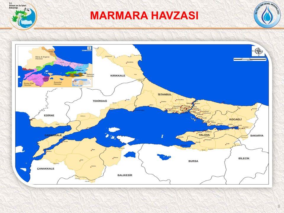 9 Marmara Havzası toplam nüfusu 2009 yılı ADNKS verilerine göre 15.171.172'dir.