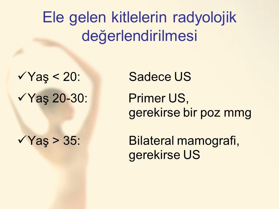 Ele gelen kitlelerin radyolojik değerlendirilmesi Yaş < 20:Sadece US Yaş 20-30: Primer US, gerekirse bir poz mmg Yaş > 35:Bilateral mamografi, gerekirse US