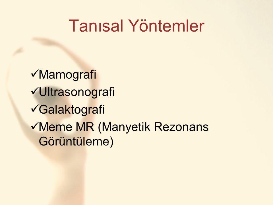 Tanısal Yöntemler Mamografi Ultrasonografi Galaktografi Meme MR (Manyetik Rezonans Görüntüleme)