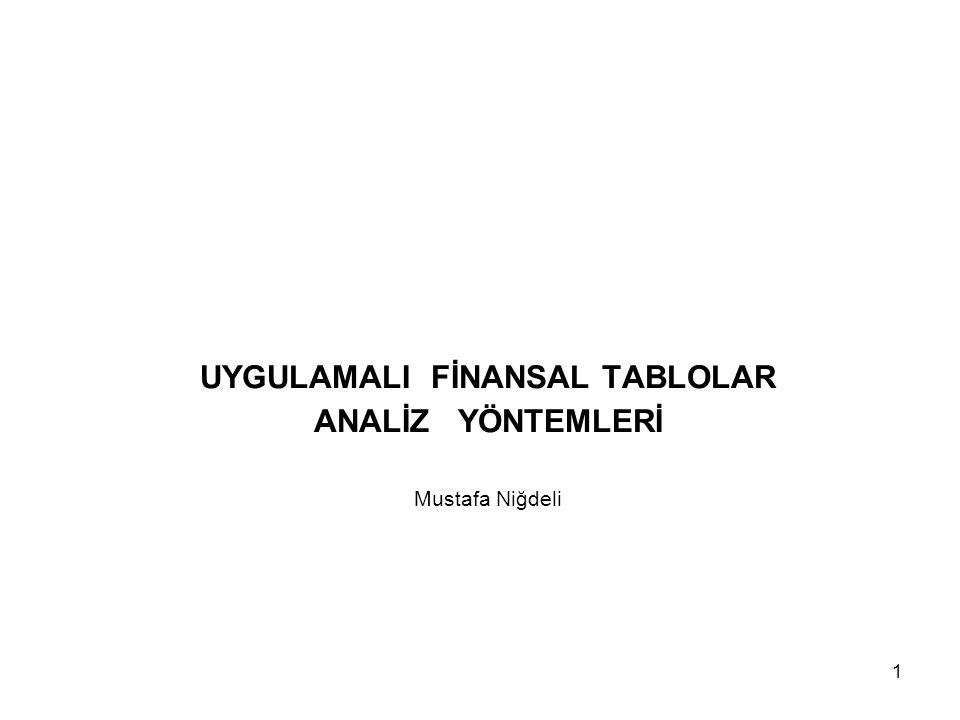1 UYGULAMALI FİNANSAL TABLOLAR ANALİZ YÖNTEMLERİ Mustafa Niğdeli