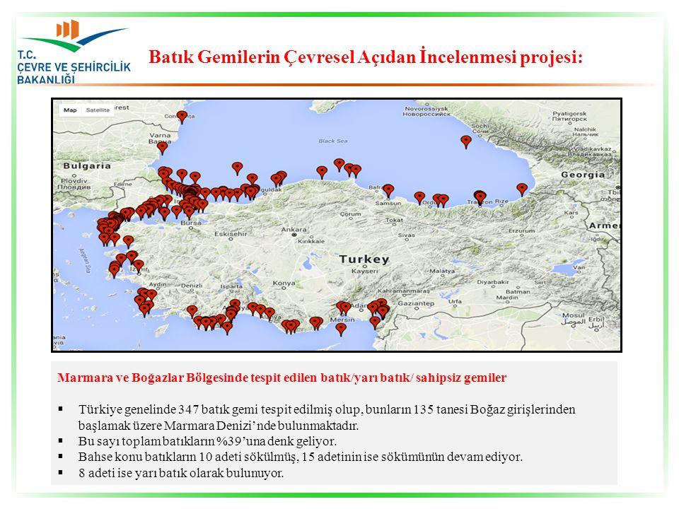 Marmara ve Boğazlar Bölgesinde tespit edilen batık/yarı batık/ sahipsiz gemiler  Türkiye genelinde 347 batık gemi tespit edilmiş olup, bunların 135 t