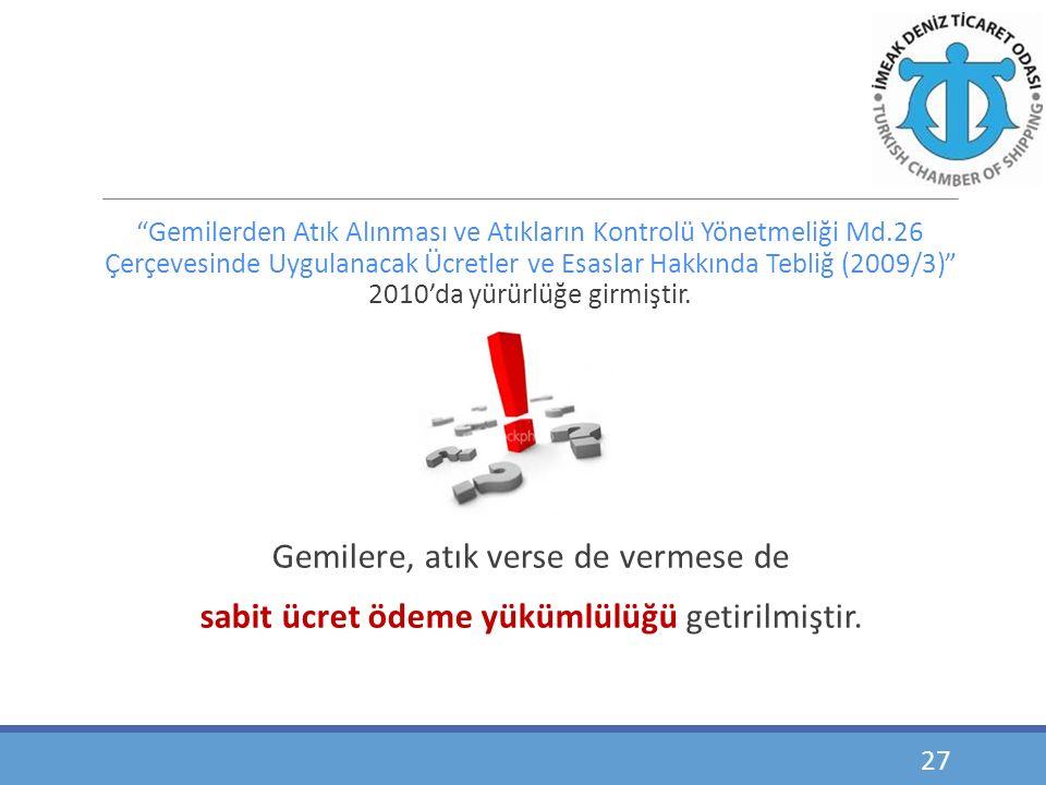 """""""Gemilerden Atık Alınması ve Atıkların Kontrolü Yönetmeliği Md.26 Çerçevesinde Uygulanacak Ücretler ve Esaslar Hakkında Tebliğ (2009/3)"""" 2010'da yürür"""