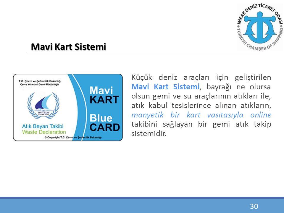 Küçük deniz araçları için geliştirilen Mavi Kart Sistemi, bayrağı ne olursa olsun gemi ve su araçlarının atıkları ile, atık kabul tesislerince alınan