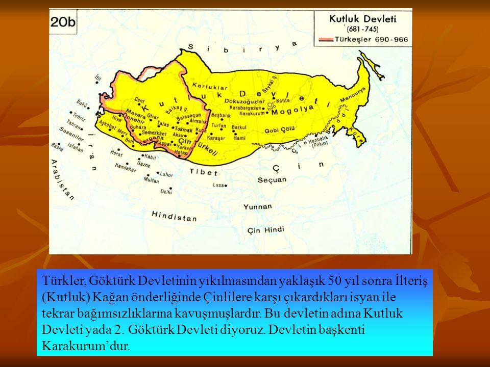 Türkler, Göktürk Devletinin yıkılmasından yaklaşık 50 yıl sonra İlteriş (Kutluk) Kağan önderliğinde Çinlilere karşı çıkardıkları isyan ile tekrar bağı
