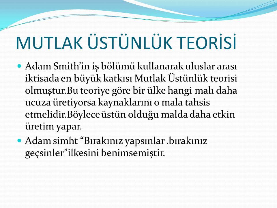 MUTLAK ÜSTÜNLÜK TEORİSİ Adam Smith'in iş bölümü kullanarak uluslar arası iktisada en büyük katkısı Mutlak Üstünlük teorisi olmuştur.Bu teoriye göre bi