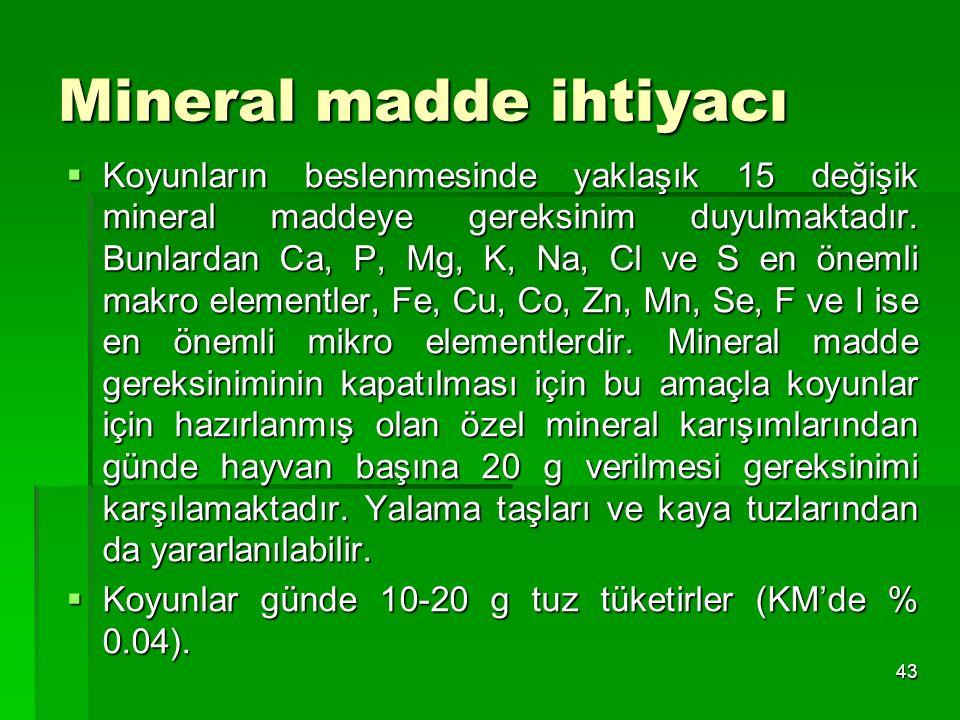 Mineral madde ihtiyacı  Koyunların beslenmesinde yaklaşık 15 değişik mineral maddeye gereksinim duyulmaktadır. Bunlardan Ca, P, Mg, K, Na, Cl ve S en