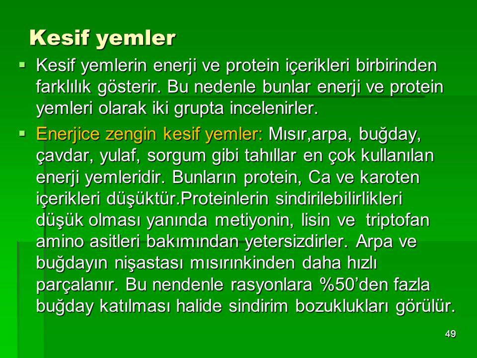 Kesif yemler  Kesif yemlerin enerji ve protein içerikleri birbirinden farklılık gösterir. Bu nedenle bunlar enerji ve protein yemleri olarak iki grup