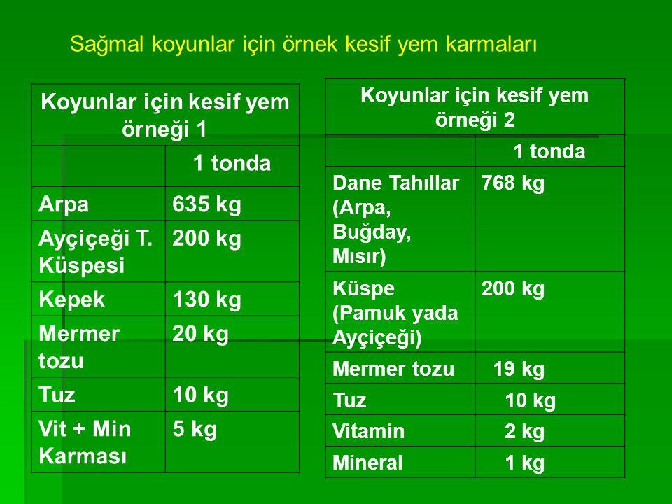 Koyunlar için kesif yem örneği 1 1 tonda Arpa635 kg Ayçiçeği T. Küspesi 200 kg Kepek130 kg Mermer tozu 20 kg Tuz10 kg Vit + Min Karması 5 kg Koyunlar