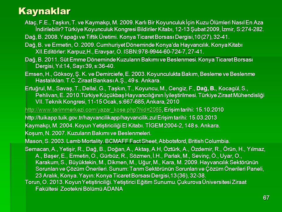 Kaynaklar Ataç, F.E., Taşkın, T. ve Kaymakçı, M. 2009. Karlı Bir Koyunculuk İçin Kuzu Ölümleri Nasıl En Aza İndirilebilir? Türkiye Koyunculuk Kongresi
