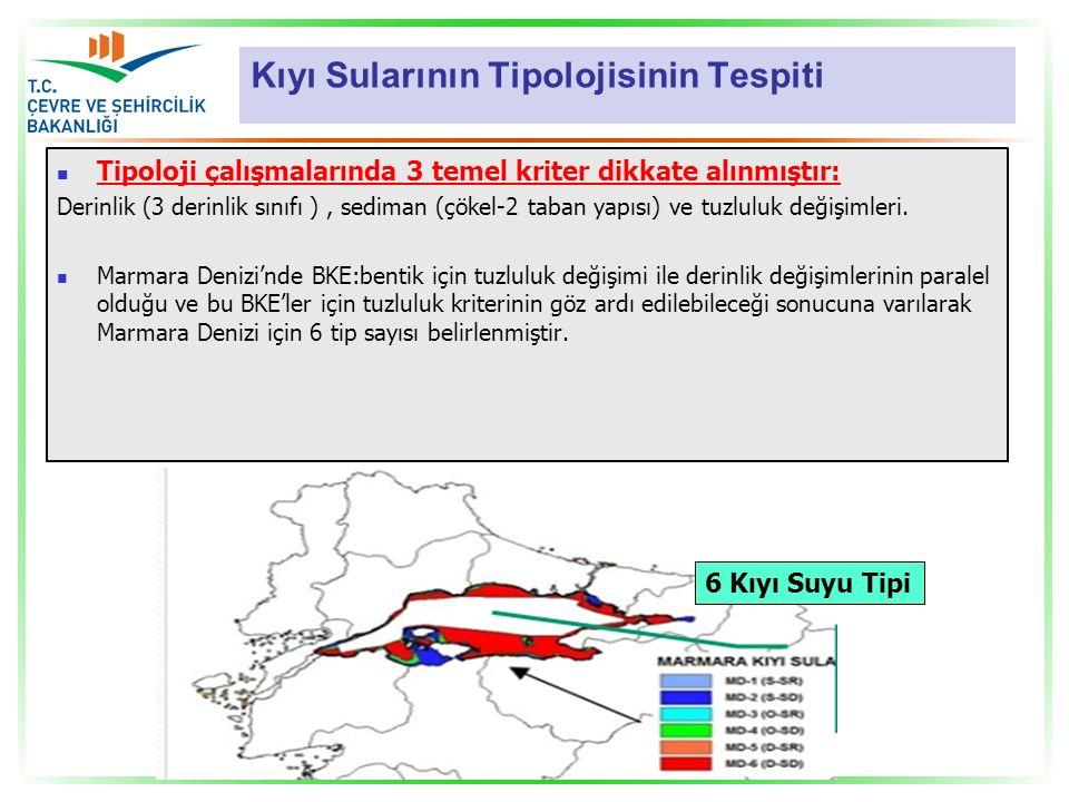 Kıyı Sularının Tipolojisinin Tespiti Tipoloji çalışmalarında 3 temel kriter dikkate alınmıştır: Derinlik (3 derinlik sınıfı ), sediman (çökel-2 taban