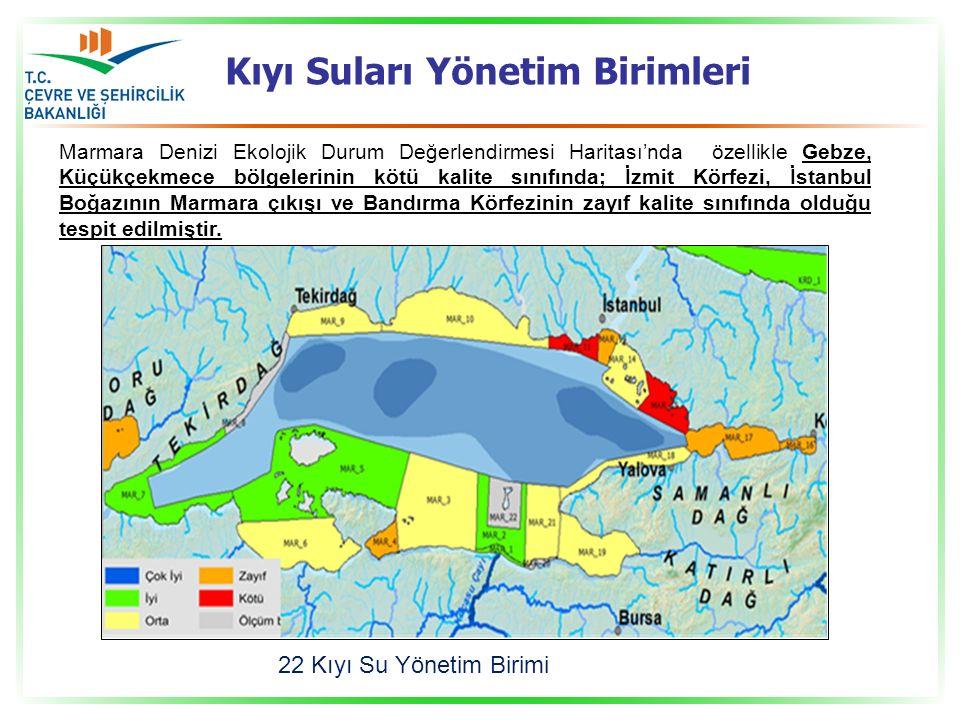 Kıyı Suları Yönetim Birimleri Marmara Denizi Ekolojik Durum Değerlendirmesi Haritası'nda özellikle Gebze, Küçükçekmece bölgelerinin kötü kalite sınıfı