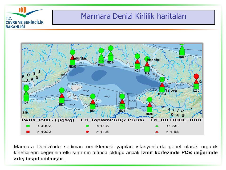 Marmara Denizi Kirlilik haritaları Marmara Denizi'nde sediman örneklemesi yapılan istasyonlarda genel olarak organik kirleticilerin değerinin etki sın