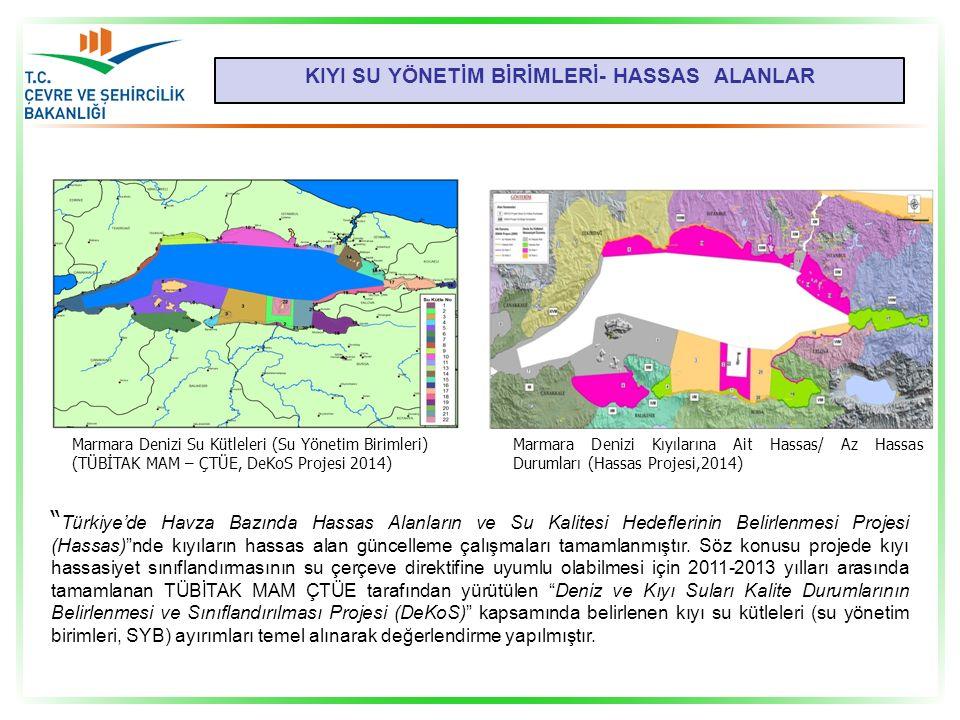 KIYI SU YÖNETİM BİRİMLERİ- HASSAS ALANLAR Marmara Denizi Su Kütleleri (Su Yönetim Birimleri) (TÜBİTAK MAM – ÇTÜE, DeKoS Projesi 2014) Marmara Denizi K