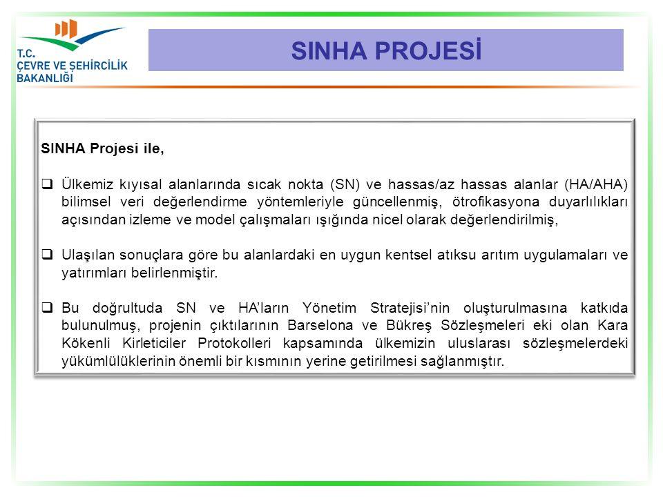 SINHA Projesi ile,  Ülkemiz kıyısal alanlarında sıcak nokta (SN) ve hassas/az hassas alanlar (HA/AHA) bilimsel veri değerlendirme yöntemleriyle günce