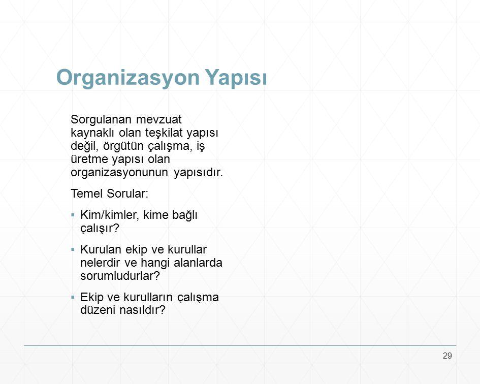 Organizasyon Yapısı Sorgulanan mevzuat kaynaklı olan teşkilat yapısı değil, örgütün çalışma, iş üretme yapısı olan organizasyonunun yapısıdır. Temel S