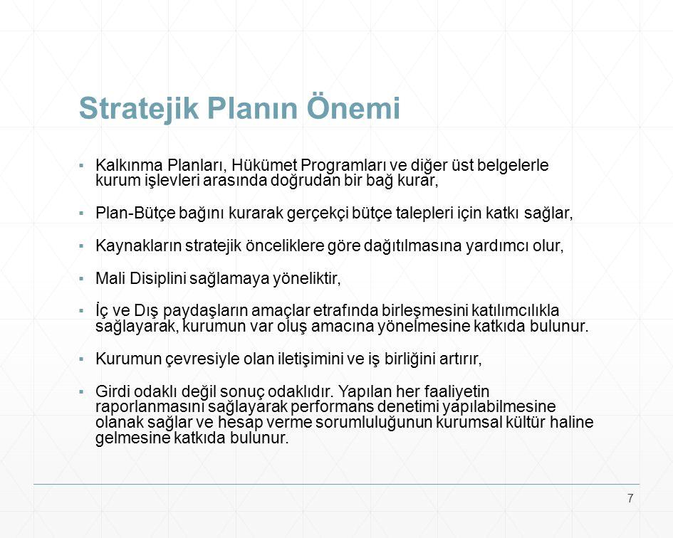 Stratejik Planın Önemi ▪Kalkınma Planları, Hükümet Programları ve diğer üst belgelerle kurum işlevleri arasında doğrudan bir bağ kurar, ▪Plan-Bütçe ba