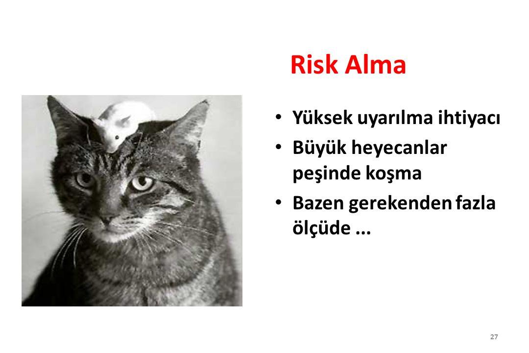 Risk Alma Yüksek uyarılma ihtiyacı Büyük heyecanlar peşinde koşma Bazen gerekenden fazla ölçüde... 27