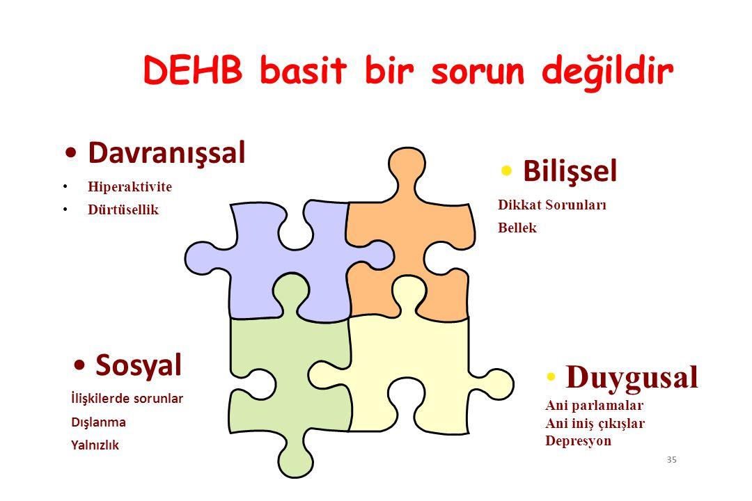 35 DEHB basit bir sorun değildir Davranışsal Hiperaktivite Dürtüsellik Bilişsel Dikkat Sorunları Bellek Sosyal İlişkilerde sorunlar Dışlanma Yalnızlık